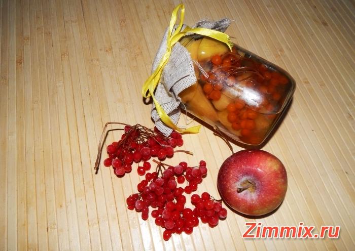 Компот из яблок и калины на зиму пошаговый рецепт с фото