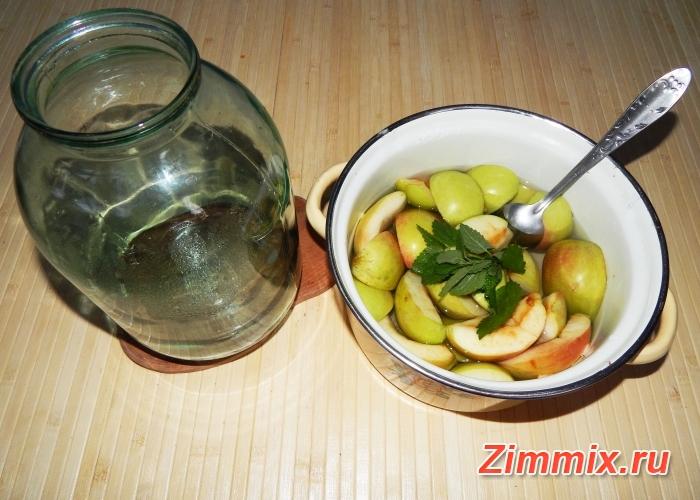 Компот из яблок и мяты на зиму рецепт с фото - шаг 4