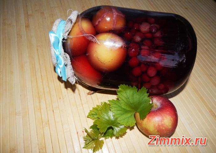 Яблочный компот с виноградом на зиму пошаговый рецепт с фото