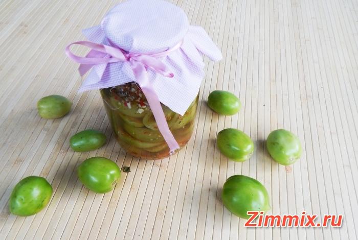 Маринованные зелёные помидоры на зиму с зеленью, чесноком и перцем