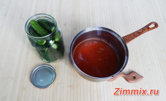 Огурцы с кетчупом чили на зиму пошаговый рецепт - шаг 5