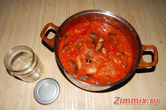 Салат из баклажанов, салатного перца и помидор на зиму  - шаг 12