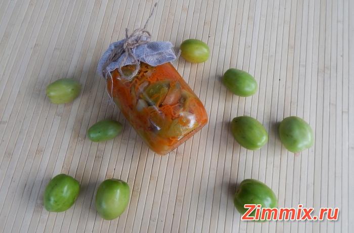Салат из зелёных помидор дольками на зиму